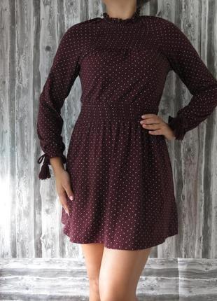 🌿1+1=3 крутое трендовое короткое платье бордо в горошек topshop, размер 46 - 48