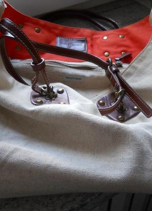 Большая летняя сумка шопер , 100% лен, ручки кожа