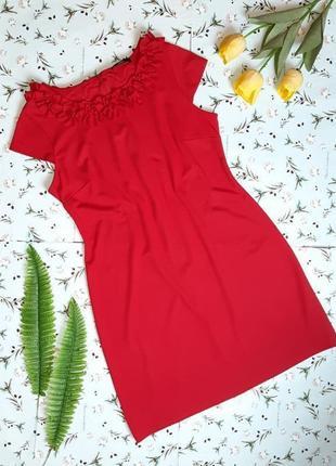 🌿1+1=3 нарядное красное приталенное платье миди marks&spencer, размер 50 - 52