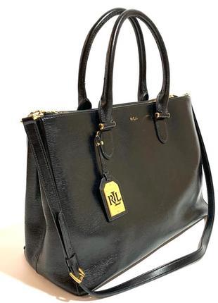 Кожаная сумка шопер lauren ralph lauren 100% натуральная кожа