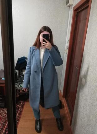Женское пальто миди оверсайз шерстяное