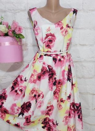 Платье миди коттоновое нарядное пышная юбка р 20 debenhams