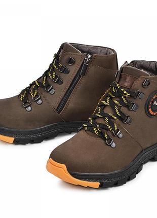 Кожаные ботинки джерси 110927 коричневый мат