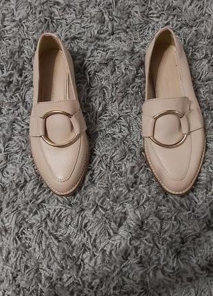 Лоферы туфли нюдовые кожа