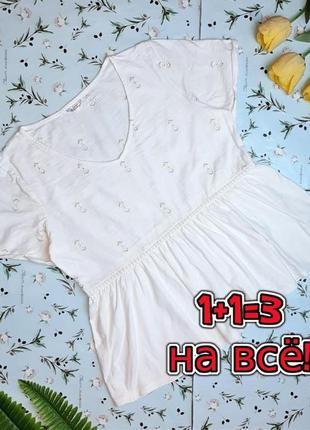 🎁1+1=3 стильная белая женская футболка с оборкой и вышивкой бантики falmer, размер 50 - 52
