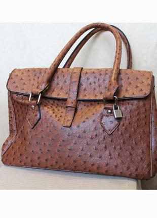 Рыжая сумка/ сумка с замком страус / коричневая сумочка под страус/ сумка кожа из страуса