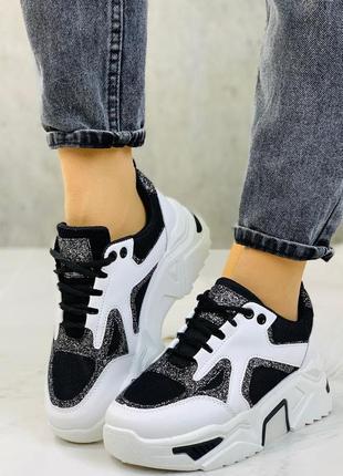 Новые шикарные женские черно-белые кроссовки