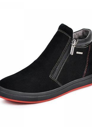 Кожаные ботинки рк2 на спортивной подошве 110912 черная и синяя замша