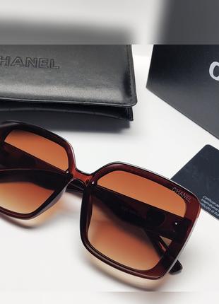 Женские очки chanel  солнцезащитные коричневые
