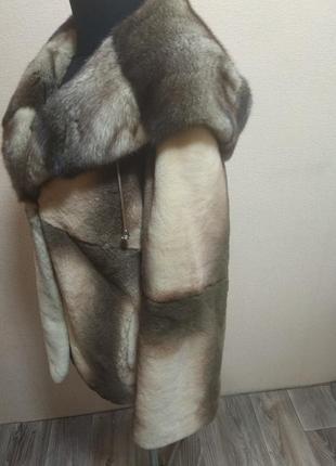Шуба полушубок с капюшоном норка бобер ( капюшон 🐍 кобра)