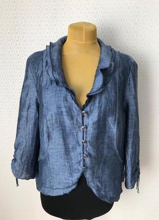 Красивый льняной жакет /пиджак серо-голубого цвета gerry weber, размер нем 44, укр 50-52