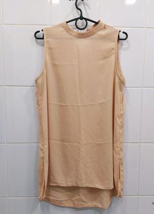 Персиковая шифоновая блуза с удлиненной спинкой