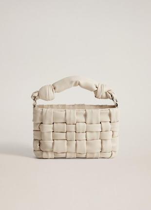 Новая трендовая молочная плетёная маленькая микро сумка