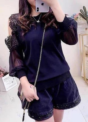 Кружевная блузочка с шифоновым рукавом и кружевом турция