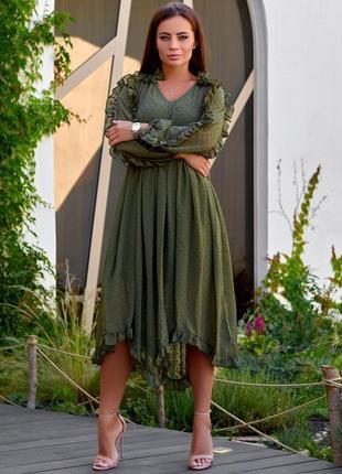Шифоновое платье миди в горошек