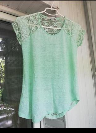 Красивая ажурная кружевная футболка блуза