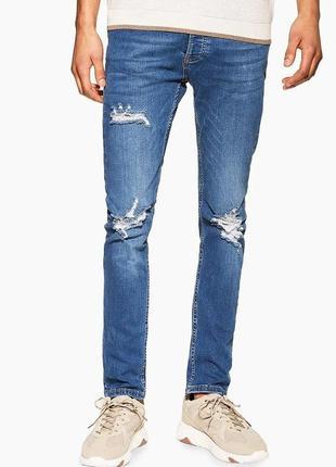 Зауженные рваные джинсы стрейч скинни topman 69b38smst