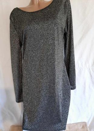 Нарядное люрексовое платье большой размер