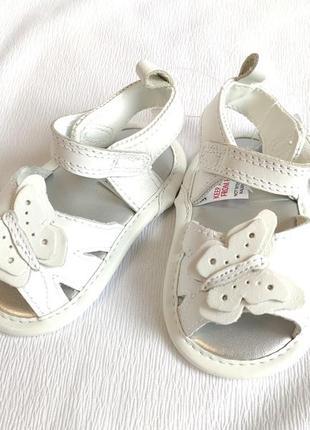 Сандалии детские кожаные белые bhs
