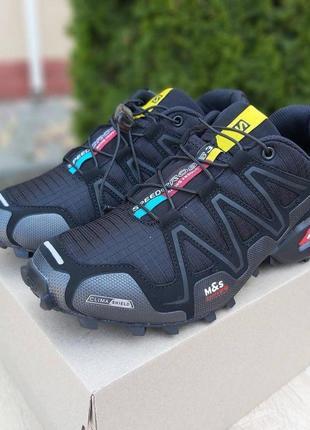 Salomon speedcross 3 мужские кроссовки соломон чёрные (серая надпись) 41-45