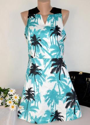 Брендовое нарядное миди платье classic tricot принт пальмы этикетка