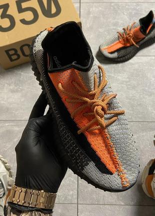 Кроссовки adidas yeezy 350 v2  orange reflective (черно оранжевые)