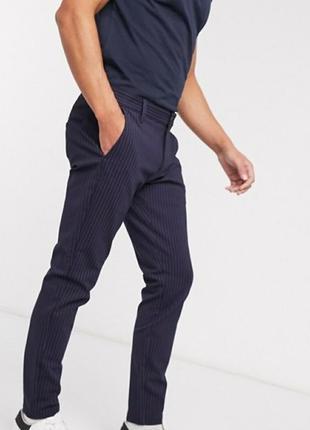 Коттоновые брюки в мелкую полоску