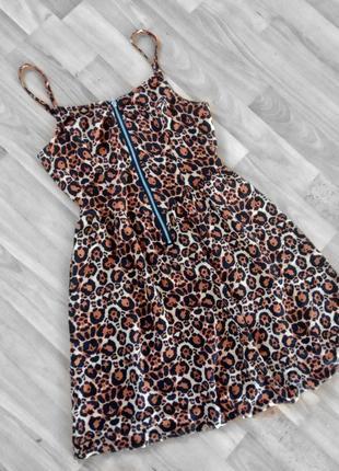 Платье на бретелях в бельевом стиле трендовое платье на молнии леопардовый принт