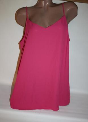 Блузка майка розовая однотонная трапеция на тонких бретелях george 18р (к039)