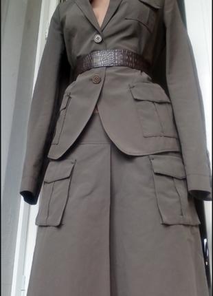 Пиджак с накладными карманами костюм сафари милитари 👑 люкс бренд 👑 hugo boss 👑