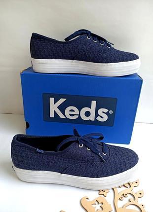 Тёмно-синие текстильные кеды от keds. оригинал. 39 -39,5 размеров. ( стелька 25,5 см. )
