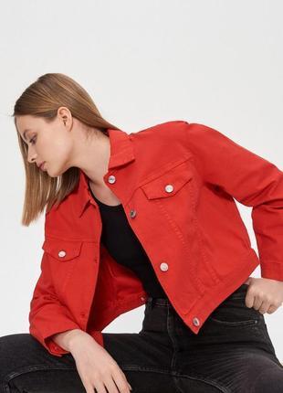 Джинсовая куртка оверсайз красная джинсовка