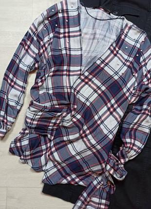 Рубашка в клетку с бусинками zara