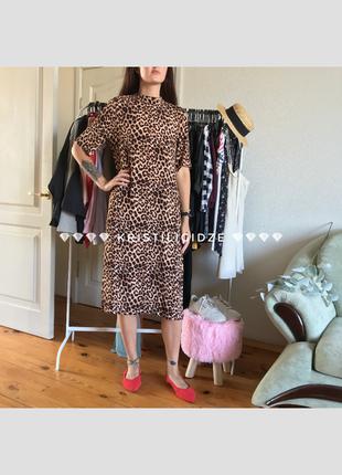 Длинное платье/платье футболка/ платье леопард/ миди платье