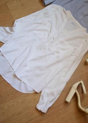 Reserved белая рубашка блуза однотонная легкая свободная базовая стильная