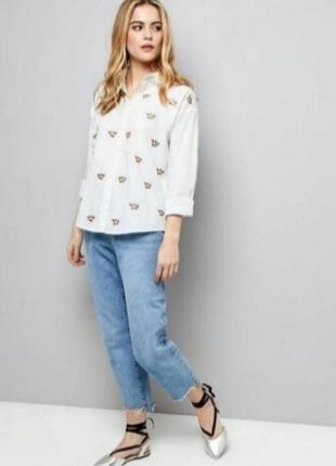 Белая рубашка с вышивкой от new look
