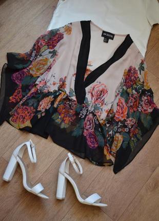 H&m легкая блуза в принт розы стильная красивая нежная с вырезом с обьемными рукавами