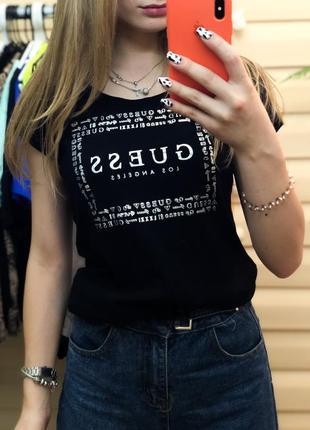 Оригинальная футболка чёрная биг лого гес гэс guess женская