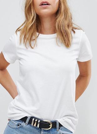 Белая базовая однотонная футболка 100% хлопок размеры