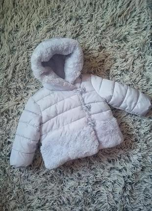 Очень теплая куртка для зимы на девочку 1-1,5года