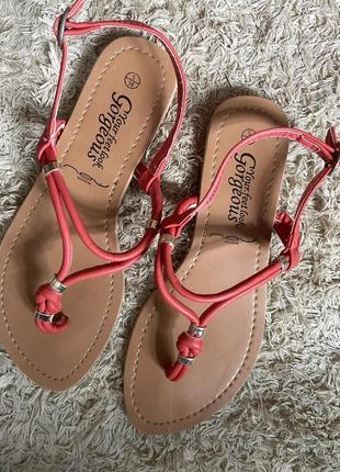 Sale !!! летние кораловые сандали босоножки вьетнамки