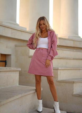 Костюм куртка+юбка из микровельвета
