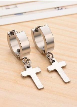 Крутые серьги крест рок готика кресты на кольце серебристый 2шт сталь