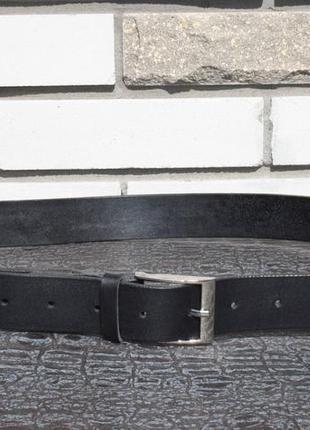 Кожаный ремень из натуральной кожи ручной работы. чёрный.