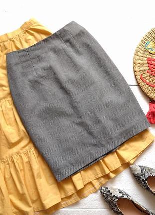 Элегантная юбка карандаш h&m в гусиную лапку, юбка миди в клетку