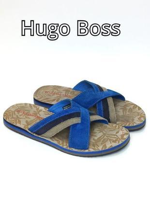 Кожаные шлепанцы сланцы hugo boss rost blue оригинал