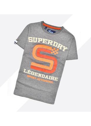Superdry s / тёмно-серая футболка с насыщенными большими оранжевыми принтами