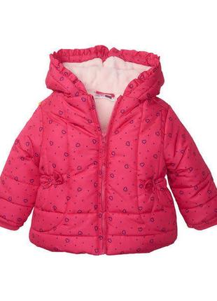 Зимняя розовая куртка в сердечки на девочек р. 80, ergee, германия