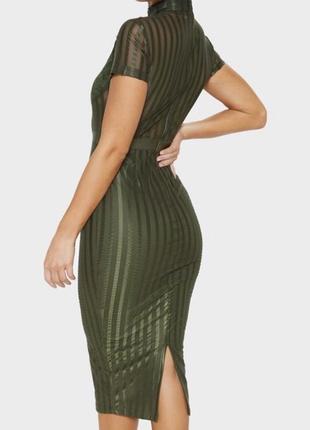 Prettylittlething сексуальна міді бандажна сукня у смужу