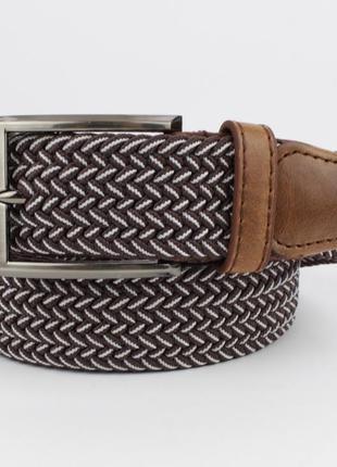 Плетеный ремень резинка alon (оригинал) 4900-112 коричневый меланж, ширина 35 мм